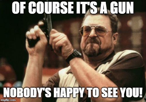 Am I The Only One Around Here Meme | OF COURSE IT'S A GUN NOBODY'S HAPPY TO SEE YOU! | image tagged in memes,am i the only one around here | made w/ Imgflip meme maker