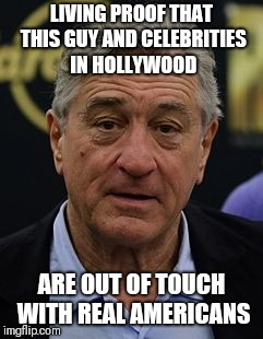 Robert DeNiro | LIVING PROOF THAT THIS GUY AND CELEBRITIES IN HOLLYWOOD ARE OUT OF TOUCH WITH REAL AMERICANS | image tagged in robert deniro | made w/ Imgflip meme maker