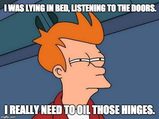 Futurama Fry Meme | I WAS LYING IN BED, LISTENING TO THE DOORS. I REALLY NEED TO OIL THOSE HINGES. | image tagged in memes,futurama fry | made w/ Imgflip meme maker