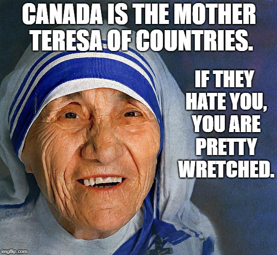 Mother Teresa smiling | CANADA IS THE MOTHER TERESA OF COUNTRIES. IF THEY HATE YOU, YOU ARE PRETTY WRETCHED. | image tagged in mother teresa smiling | made w/ Imgflip meme maker