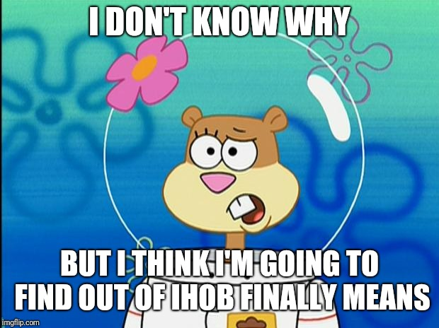 Today is the day IHOP becomes IHOB... | I DON'T KNOW WHY BUT I THINK I'M GOING TO FIND OUT OF IHOB FINALLY MEANS | image tagged in sandy i don't know why,ihop,ihob,memes | made w/ Imgflip meme maker