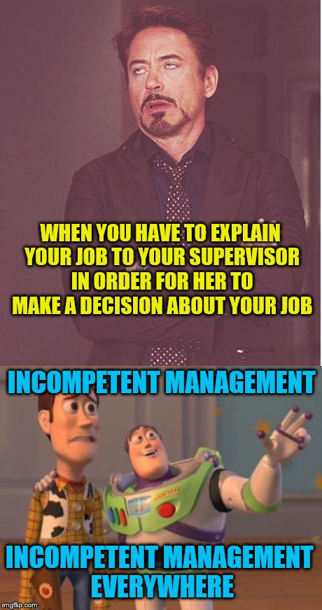 Shouldn't she already know what her employees do? | WHEN YOU HAVE TO EXPLAIN YOUR JOB TO YOUR SUPERVISOR IN ORDER FOR HER TO MAKE A DECISION ABOUT YOUR JOB INCOMPETENT MANAGEMENT INCOMPETENT M | image tagged in memes,face you make robert downey jr,x x everywhere,incompetence,supervisor,management | made w/ Imgflip meme maker