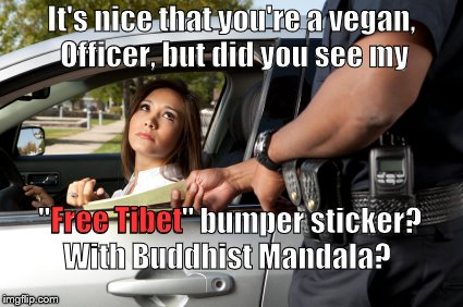 "Prius drivers will not be ""out-virtue,"" even by traffic cops. Besides her children don't go to school she just flew past texting 