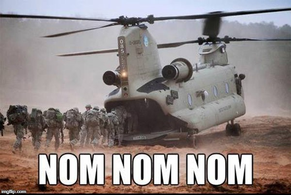 Hungry Helicopter | image tagged in helicopter,planes,chopper,army,delicious | made w/ Imgflip meme maker