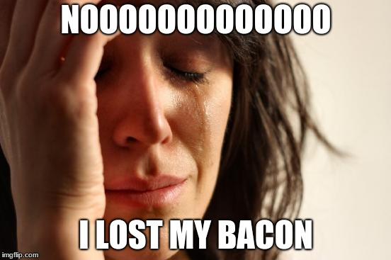 First World Problems Meme | NOOOOOOOOOOOOO I LOST MY BACON | image tagged in memes,first world problems | made w/ Imgflip meme maker