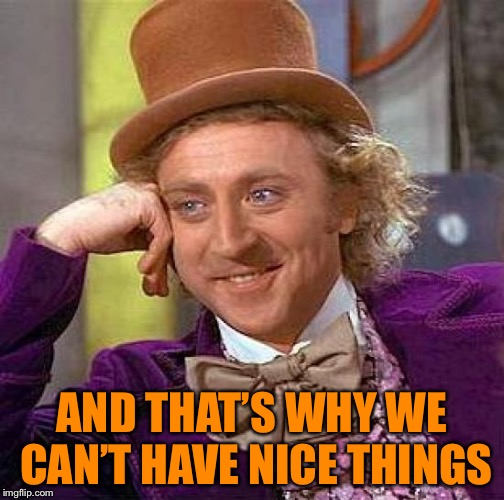Creepy Condescending Wonka Meme | AND THAT'S WHY WE CAN'T HAVE NICE THINGS | image tagged in memes,creepy condescending wonka | made w/ Imgflip meme maker