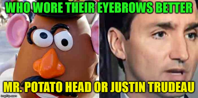 Justin Trudeau's eyebrow falling off | WHO WORE THEIR EYEBROWS BETTER MR. POTATO HEAD OR JUSTIN TRUDEAU | image tagged in justin trudeau,memes,eyebrows | made w/ Imgflip meme maker