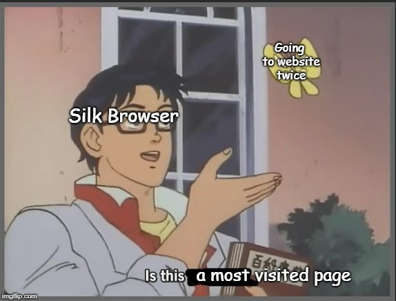 Is this a pigeon? | Going to website twice a most visited page Silk Browser | image tagged in is this a pigeon | made w/ Imgflip meme maker