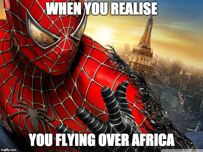 Black Spiderman |  WHEN YOU REALISE; YOU FLYING OVER AFRICA | image tagged in spiderman,black | made w/ Imgflip meme maker
