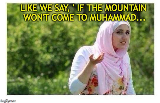 LIKE WE SAY, ' IF THE MOUNTAIN WON'T COME TO MUHAMMAD... | made w/ Imgflip meme maker