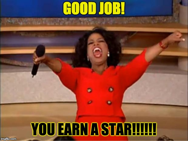 Oprah You Get A Meme | GOOD JOB! YOU EARN A STAR!!!!!! | image tagged in memes,oprah you get a | made w/ Imgflip meme maker