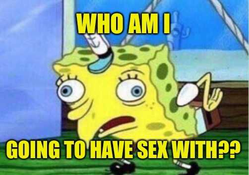 Mocking Spongebob Meme | WHO AM I GOING TO HAVE SEX WITH?? | image tagged in memes,mocking spongebob | made w/ Imgflip meme maker