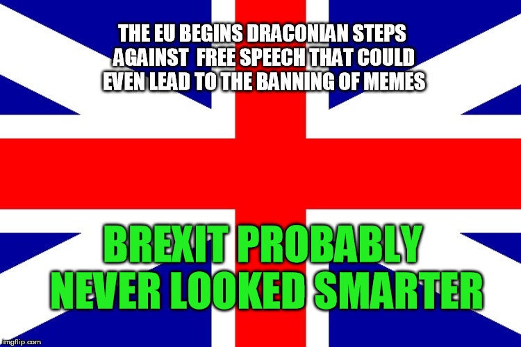THE EU BEGINS DRACONIAN STEPS AGAINST  FREE SPEECH THAT COULD EVEN LEAD TO THE BANNING OF MEMES BREXIT PROBABLY NEVER LOOKED SMARTER | made w/ Imgflip meme maker