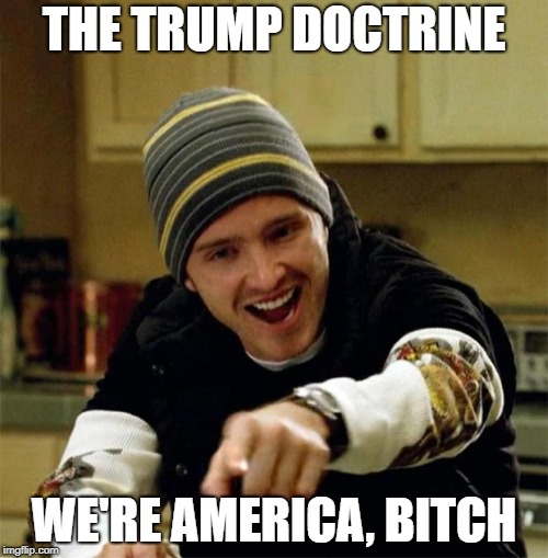 THE TRUMP DOCTRINE WE'RE AMERICA, B**CH | image tagged in jesse pinkman | made w/ Imgflip meme maker