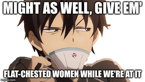 WTF Kirito | MIGHT AS WELL, GIVE EM' FLAT-CHESTED WOMEN WHILE WE'RE AT IT | image tagged in wtf kirito | made w/ Imgflip meme maker