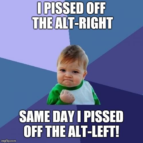 Success Kid Meme | I PISSED OFF THE ALT-RIGHT SAME DAY I PISSED OFF THE ALT-LEFT! | image tagged in memes,success kid | made w/ Imgflip meme maker