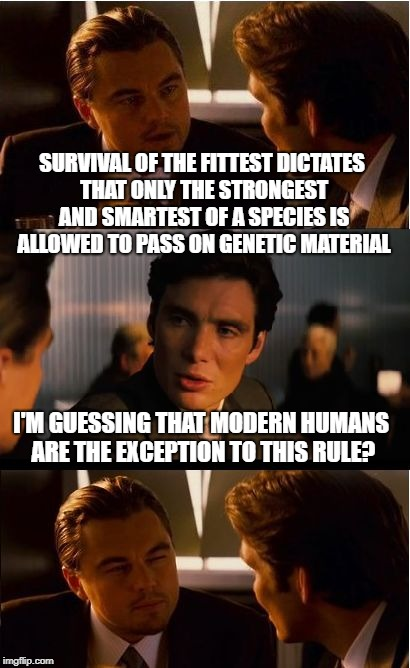 Because Everyone is Special | SURVIVAL OF THE FITTEST DICTATES THAT ONLY THE STRONGEST AND SMARTEST OF A SPECIES IS ALLOWED TO PASS ON GENETIC MATERIAL I'M GUESSING THAT  | image tagged in memes,inception,funny | made w/ Imgflip meme maker
