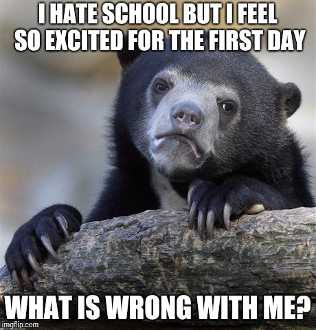 Confession Bear Meme | I HATE SCHOOL BUT I FEEL SO EXCITED FOR THE FIRST DAY WHAT IS WRONG WITH ME? | image tagged in memes,confession bear | made w/ Imgflip meme maker