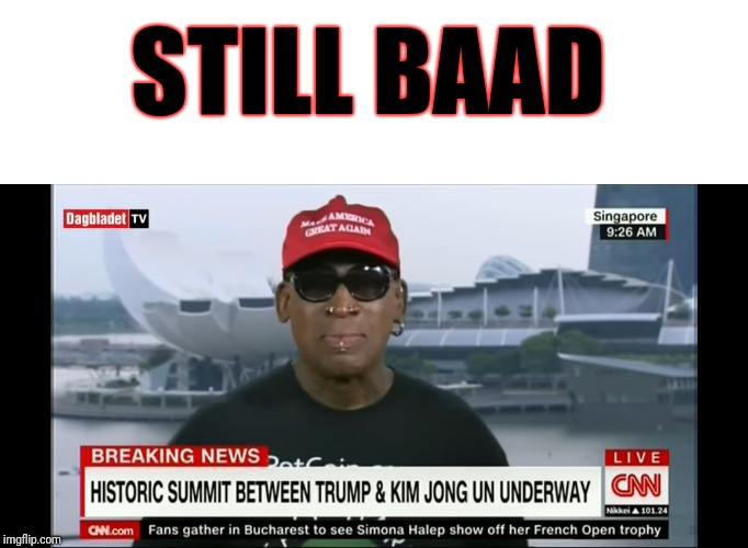 Another black person the left will throw in the garbage | STILL BAAD | image tagged in make america great again,dennis rodman,donald trump,kim jong un,memes | made w/ Imgflip meme maker