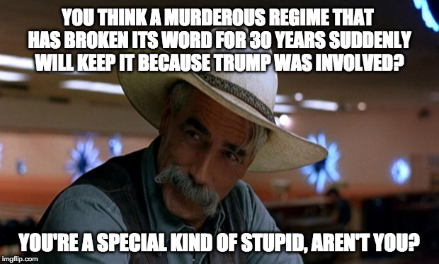 YOU THINK A MURDEROUS REGIME THAT HAS BROKEN ITS WORD FOR 30 YEARS SUDDENLY WILL KEEP IT BECAUSE TRUMP WAS INVOLVED? YOU'RE A SPECIAL KIND O | image tagged in special stupid | made w/ Imgflip meme maker