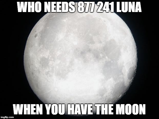 Full Moon | WHO NEEDS 877 241 LUNA WHEN YOU HAVE THE MOON | image tagged in full moon | made w/ Imgflip meme maker