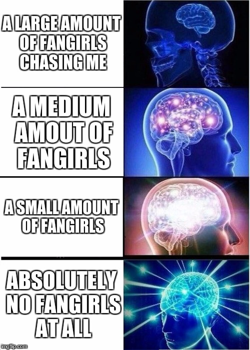 Ahhhh... Satisfying! | A LARGE AMOUNT OF FANGIRLS CHASING ME A MEDIUM AMOUT OF FANGIRLS A SMALL AMOUNT OF FANGIRLS ABSOLUTELY NO FANGIRLS AT ALL | image tagged in memes,expanding brain,funny,fangirling,mmd,stop reading the tags | made w/ Imgflip meme maker