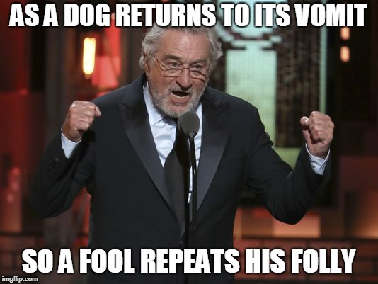 F-Bombs Away! | AS A DOG RETURNS TO ITS VOMIT SO A FOOL REPEATS HIS FOLLY | image tagged in robert deniro,president trump | made w/ Imgflip meme maker