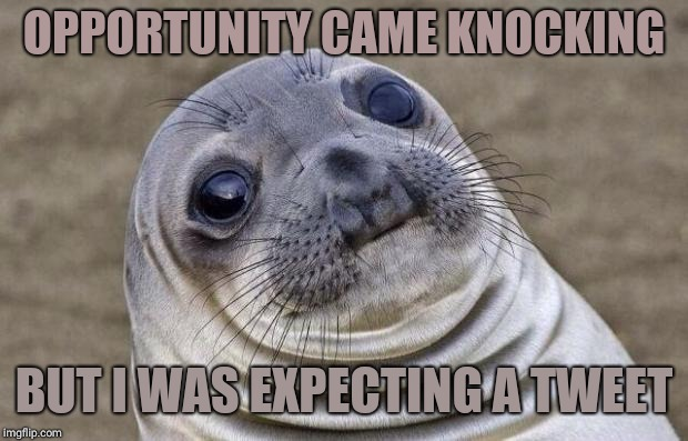 Awkward Moment Sealion Meme | OPPORTUNITY CAME KNOCKING BUT I WAS EXPECTING A TWEET | image tagged in memes,awkward moment sealion | made w/ Imgflip meme maker
