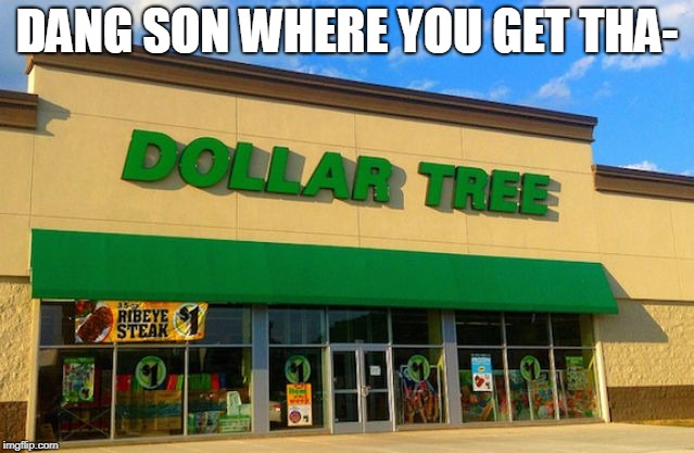 Dollar Tree | DANG SON WHERE YOU GET THA- | image tagged in dollar tree | made w/ Imgflip meme maker