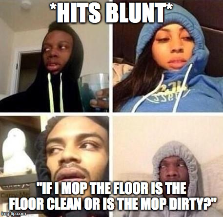 "*Hits blunt | *HITS BLUNT* ""IF I MOP THE FLOOR IS THE FLOOR CLEAN OR IS THE MOP DIRTY?"" 