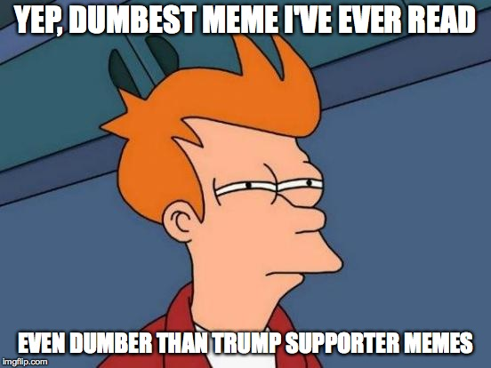 Futurama Fry Meme | YEP, DUMBEST MEME I'VE EVER READ EVEN DUMBER THAN TRUMP SUPPORTER MEMES | image tagged in memes,futurama fry | made w/ Imgflip meme maker