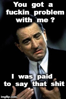 Good fella DeNiro | You  got  a  f**kin  problem  with  me ? I  was  paid  to  say  that  shit | image tagged in good fella deniro | made w/ Imgflip meme maker