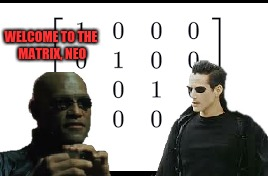 Take the blue one and learn how to multiply matrices | WELCOME TO THE MATRIX, NEO | image tagged in matrix,math | made w/ Imgflip meme maker