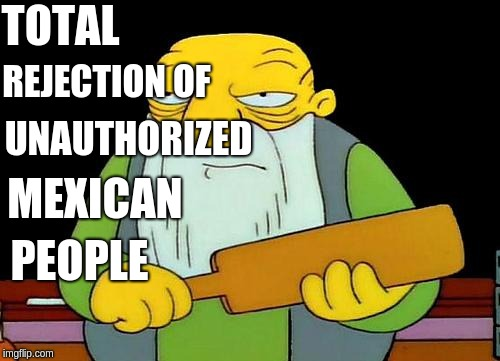 That's a paddlin' Meme | TOTAL REJECTION OF UNAUTHORIZED MEXICAN PEOPLE | image tagged in memes,that's a paddlin' | made w/ Imgflip meme maker