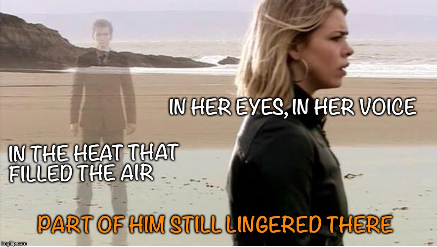 Part of him still lingered there | IN HER EYES, IN HER VOICE IN THE HEAT THAT FILLED THE AIR PART OF HIM STILL LINGERED THERE | image tagged in doctor who,10th doctor,rose tyler | made w/ Imgflip meme maker