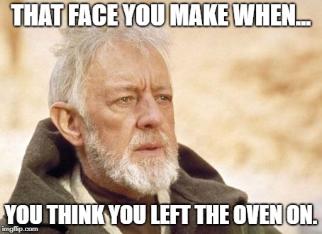 Obi Wan Kenobi Meme | THAT FACE YOU MAKE WHEN... YOU THINK YOU LEFT THE OVEN ON. | image tagged in memes,obi wan kenobi | made w/ Imgflip meme maker