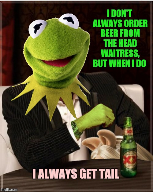 I DON'T ALWAYS ORDER BEER FROM THE HEAD WAITRESS, BUT WHEN I DO I ALWAYS GET TAIL | made w/ Imgflip meme maker