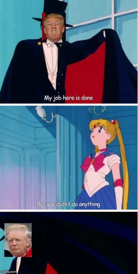 Trump at the North Korea summit like | image tagged in sailor moon you didn't do anything,trump,memes,political | made w/ Imgflip meme maker