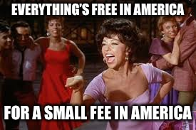 EVERYTHING'S FREE IN AMERICA FOR A SMALL FEE IN AMERICA | made w/ Imgflip meme maker
