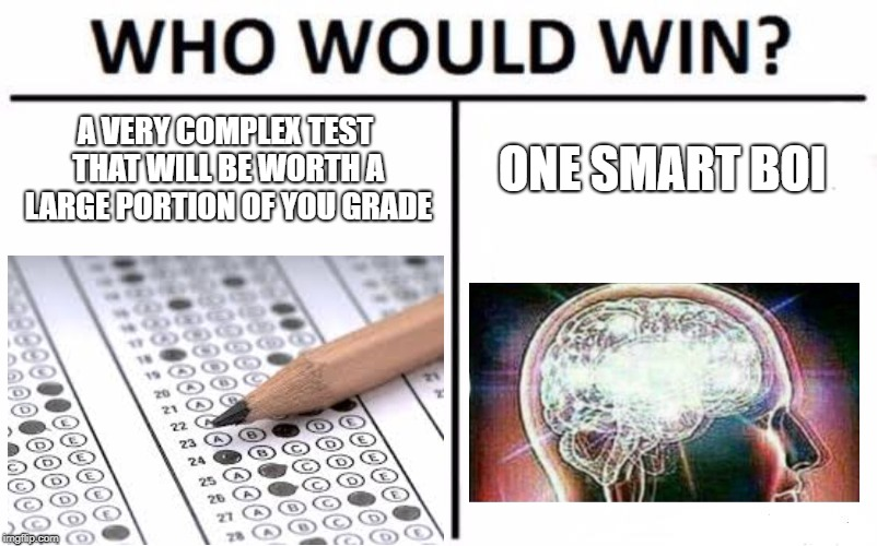 Who Would Win? Meme | A VERY COMPLEX TEST THAT WILL BE WORTH A LARGE PORTION OF YOU GRADE ONE SMART BOI | image tagged in memes,who would win | made w/ Imgflip meme maker