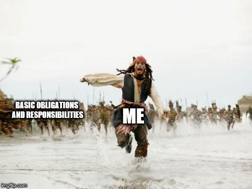 Jack Sparrow Being Chased Meme | BASIC OBLIGATIONS AND RESPONSIBILITIES ME | image tagged in memes,jack sparrow being chased | made w/ Imgflip meme maker