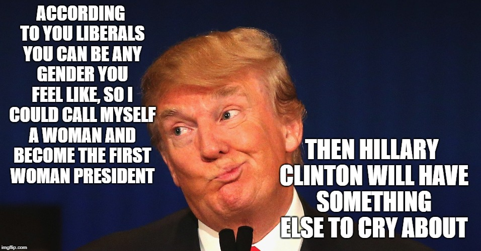 ACCORDING TO YOU LIBERALS YOU CAN BE ANY GENDER YOU FEEL LIKE, SO I COULD CALL MYSELF A WOMAN AND BECOME THE FIRST WOMAN PRESIDENT THEN HILL | image tagged in donald trump,transgender,gender fluid,first woman president | made w/ Imgflip meme maker