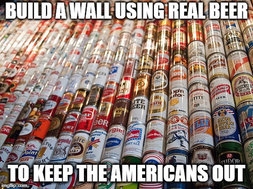 BUILD A WALL USING REAL BEER TO KEEP THE AMERICANS OUT | image tagged in beer cans | made w/ Imgflip meme maker