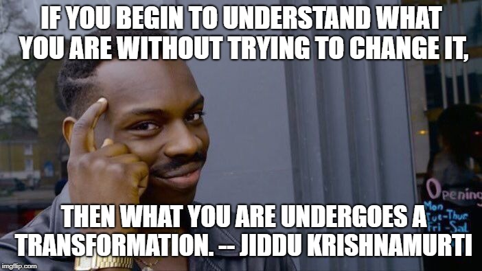 Roll Safe Think About It Meme | IF YOU BEGIN TO UNDERSTAND WHAT YOU ARE WITHOUT TRYING TO CHANGE IT, THEN WHAT YOU ARE UNDERGOES A TRANSFORMATION. -- JIDDU KRISHNAMURTI | image tagged in memes,roll safe think about it | made w/ Imgflip meme maker