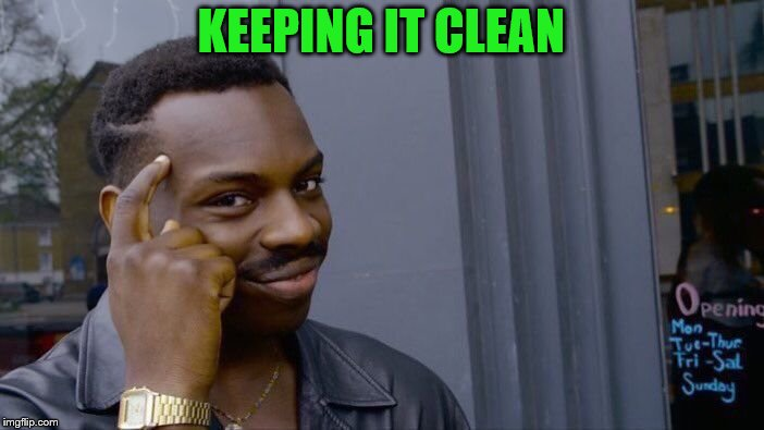 Roll Safe Think About It Meme | KEEPING IT CLEAN | image tagged in memes,roll safe think about it | made w/ Imgflip meme maker