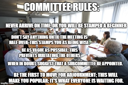 Committee | COMMITTEE RULES: WHEN IN DOUBT, SUGGEST THAT A SUBCOMMITTEE BE APPOINTED. BE THE FIRST TO MOVE FOR ADJOURNMENT; THIS WILL MAKE YOU POPULAR;  | image tagged in committee | made w/ Imgflip meme maker