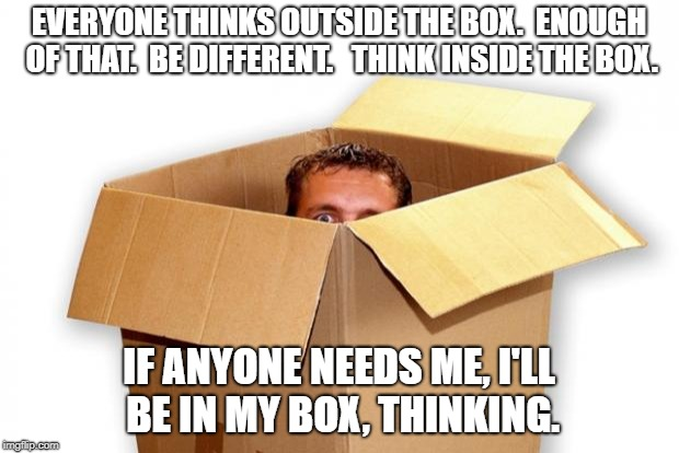 EVERYONE THINKS OUTSIDE THE BOX.  ENOUGH OF THAT.  BE DIFFERENT.   THINK INSIDE THE BOX. IF ANYONE NEEDS ME, I'LL BE IN MY BOX, THINKING. | image tagged in box boxed boxes boxer | made w/ Imgflip meme maker