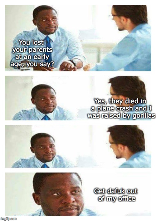 The Job Interview | You lost your parents at an early age, you say? Yes, they died in a plane crash and I was raised by gorillas Get dafuk out of my office | image tagged in job interview | made w/ Imgflip meme maker