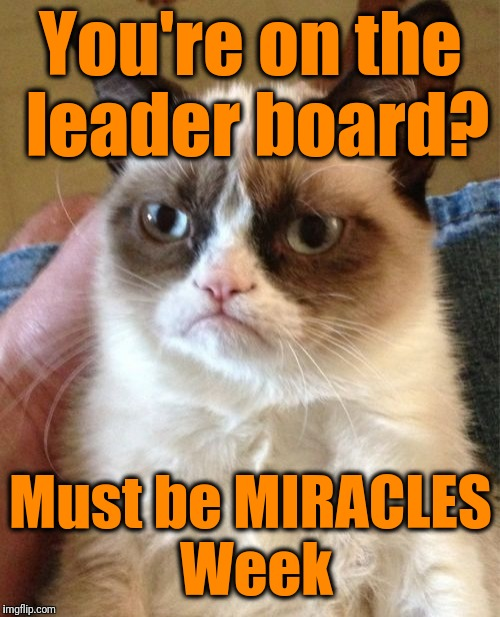 Grumpy Cat Meme | You're on the leader board? Must be MIRACLES Week | image tagged in memes,grumpy cat | made w/ Imgflip meme maker
