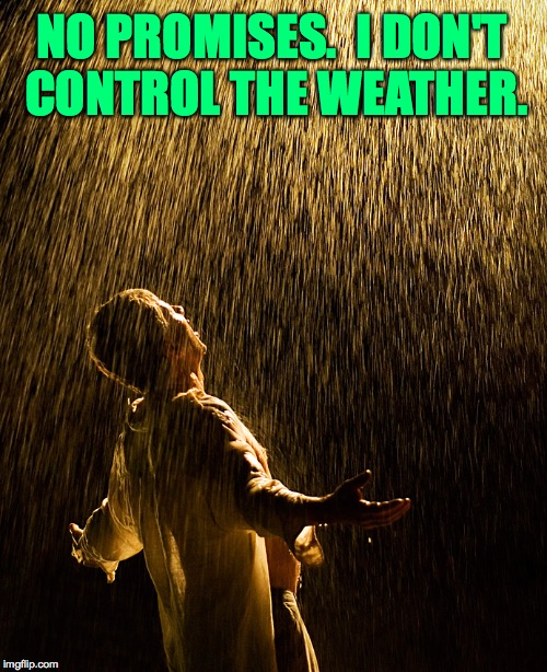 NO PROMISES.  I DON'T CONTROL THE WEATHER. | made w/ Imgflip meme maker